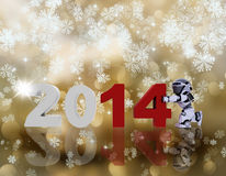 Happy New Year background with robot. 3D render of a robot bringing the new year in Royalty Free Stock Photography