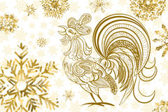 Happy New Year background. New Year background. Rooster symbol of 2017 on the Chinese calendar. Golden rooster and snowflakes on white background. Vector Royalty Free Stock Image