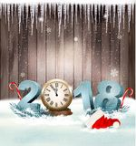 Happy New Year 2018 background with Santa hat and clock. Vector Royalty Free Stock Images