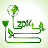 Happy New Year 2014 background with save the world. Concept stock vector Stock Images