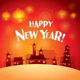 Happy New Year! Background with new year scene. Wide empty space for design royalty free illustration