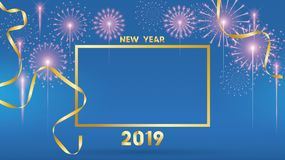 2019 Happy New Year Background for Seasonal Flyers and Greetings Card or invitations with fireworks. simple modern and stylized vector illustration