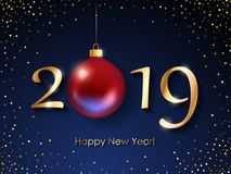 2019 Happy New Year background. Seasonal greeting card template. 2019 Happy New Year background with christmas tree ball. Christmas winter holidays design Stock Photos