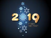 2019 Happy New Year background. Seasonal greeting card template. 2019 Happy New Year background with diamond snowflakes. Christmas winter holidays design vector illustration