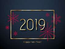 2019 Happy New Year background. Seasonal greeting card template. 2019 Happy New Year background with red snowflakes. Christmas winter holidays design. Seasonal Stock Photos