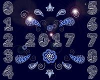 2017 Happy New Year background with set of decorated painted figures and Paisley fireworks. Vector illustration Royalty Free Stock Photo