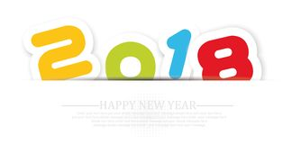 2018 Happy new year background with shadow for web. 2018 Happy new year background with shadow royalty free illustration