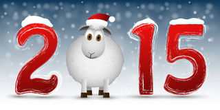 2015 Happy New Year background with  sheep. Vector illustration Royalty Free Stock Photos