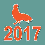 Happy New year background silhouette rooster. And number 2017 Royalty Free Stock Images