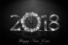 Happy New Year 2017. Vector background. Happy New Year 2018. Background with silver sparkling texture. Argent Numbers 1, 2, 8 with shiny clock.. Vector royalty free illustration