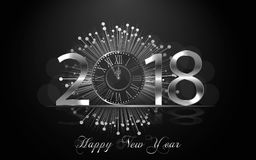 Happy New Year 2017. Vector background. Happy New Year 2018. Background with silver sparkling texture. Argent Numbers 1, 2, 8 with shiny clock.. Vector Stock Images