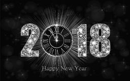Happy New Year 2017. Vector background. Happy New Year 2018. Background with silver sparkling texture. Argent Numbers 1, 2, 8 with shiny clock.. Vector Royalty Free Stock Photo