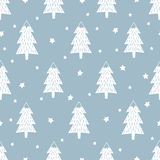 Happy New Year background. Simple seamless retro Christmas pattern. Xmas trees, stars and snowflakes. Vector design for winter holidays. Child drawing style Stock Photo