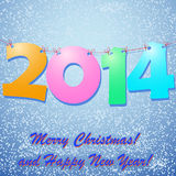 Happy New Year 2014 Background. With snow vector illustration