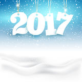 Happy New Year background with snow Stock Photo