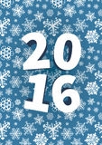 Happy New Year background with snowflakes. 2016 Happy New Year background with snowflakes on blue Royalty Free Stock Image