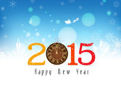Happy new year background with snowflakes and clock. Happy new year background and greeting card design Stock Images