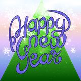 Happy New Year background with snowflakes. Falling from the sky stock illustration