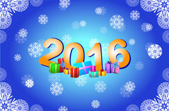 Happy new year 2016 on the background of snowflakes. Stock Image