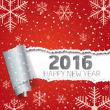 Happy New Year 2016. Background with snowflakes and torn paper. Happy New Year 2016. Background with snowflakes and torn paper Stock Photo