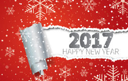 Happy New Year 2017. Background with snowflakes and torn paper.  Stock Photography