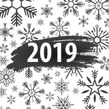 2019 Happy New Year Background with snowflakes for your Seasonal Flyers and Greetings Card or Christmas themed invitations. 2019 Happy New Year Background with stock illustration