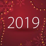 2019 Happy New Year Background with snowflakes for your Seasonal Flyers and Greetings Card or Christmas themed invitations. 2019 Happy New Year Background with vector illustration