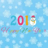 Happy new year 2018 background with snowman and snow, vector illustration. Stock Photography