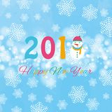 Happy new year 2018 background with snowman and snow, vector illustration. Royalty Free Stock Photos