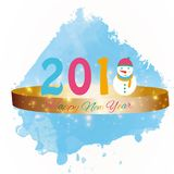 Happy new year 2018 background with snowman and snow, vector illustration. Royalty Free Stock Photography