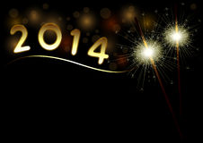 2014 Happy New Year background with sparklers Stock Images