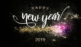 Happy New Year 2019 background with sparklers. Happy New Year 2019 background with glittering gold and purple sparklers over a dark night background in a stock illustration