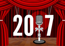 Happy New Year on the background of the stage with a microphone. Vector illustration Stock Image