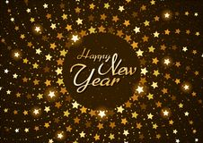 Happy New Year Background with Stars in Circular Spiral vector illustration