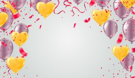 2019 Happy New Year Background Stars colorful Happy Birthday bac. Kground with set of colorful balloons stock illustration