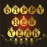 Happy new year background with stylish text design stock illustration