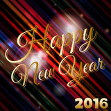 Happy New Year 2016 background. Happy New Year 2016 Text Over Glowing Striped Background with Lens Flares stock illustration