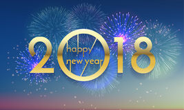 2018 Happy New Year Background texture with glitter fireworks. Vector gold glittering text and numbers. Royalty Free Stock Photo