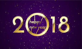 2018 Happy New Year Background texture with glitter fireworks. Vector gold glittering text and numbers. Stock Photos