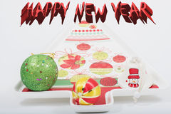 Happy New Year background. Texture and red text Stock Photography