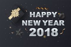 Happy New Year on Background Typography and Elements. greeting c. Ard or poster template flyer or invitation design. Vector Illustration stock illustration