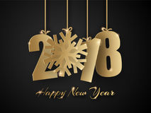 Happy New Year 2018 background. Vector Greeting card. Happy New Year 2018. 3d golden paper numbers with snowflake isolated on black background. Vector Greeting Royalty Free Stock Photography