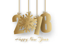 Happy New Year 2018 background. Vector Greeting card. Happy New Year 2018. 3d golden paper numbers with snowflake on white background. Vector Greeting card stock illustration