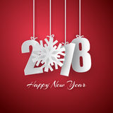 Happy New Year 2018 background. Vector Greeting card. Happy New Year 2018. 3d paper numbers with green snowflake isolated on red background. Vector Greeting Stock Photos