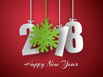 Happy New Year 2018 background. Vector Greeting card. Happy New Year 2018. 3d paper numbers with green snowflake  on red background. Vector Greeting card Stock Photography