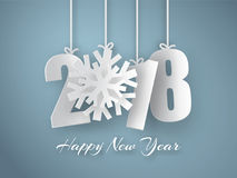 Happy New Year 2018 background. Vector Greeting card. Happy New Year 2018. 3d white paper numbers with snowflake isolated on blue background. Vector Greeting Royalty Free Stock Photography