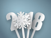 Happy New Year 2018 background. Vector Greeting card. Happy New Year 2018. 3d white paper numbers with snowflake isolated on blue background. Vector Greeting Royalty Free Stock Photos