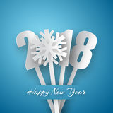 Happy New Year 2018 background. Vector Greeting card. Happy New Year 2018. 3d white paper numbers with snowflake isolated on blue background. Vector Greeting Stock Photo