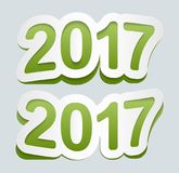 Happy New Year 2017 background. Vector 2017 icon. Curved sign from paper stickers. Happy New Year 2017 background. 2017 icon. Curved sign from paper stickers Royalty Free Stock Images