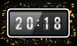 Happy New Year background vector illustration with gold confetti and ribbons. Digital countdown timer with 2018 numbers flip clock. Flip calendar changes to Royalty Free Illustration